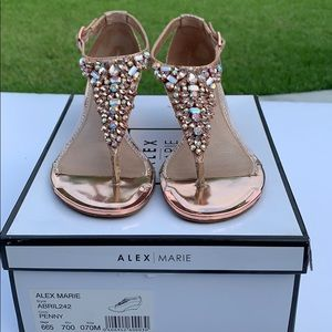 Alex Marie Wedge Thong Sandal In Color Penny